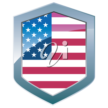 Silver shield with American flag