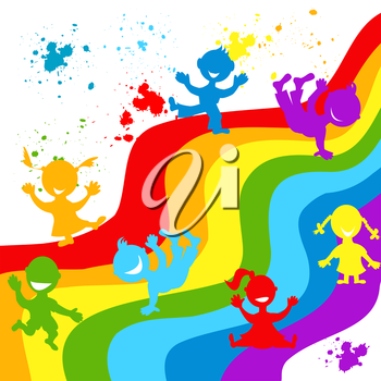 Hand drown children silhouettes in rainbow colors