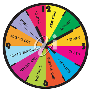 Colorful wall clock with popular city names from the world for travel agencies
