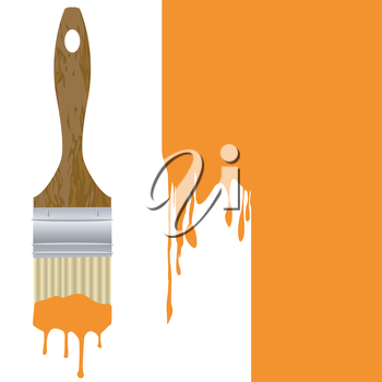 Paintbrush with dripping orange paint isolated over an orange painted wall