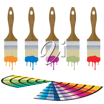 Color samples and set of paintbrushes over white background