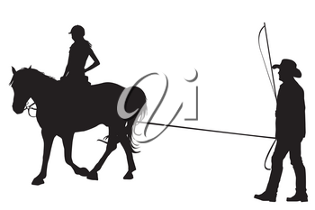 Girl riding on the horse with her trainer