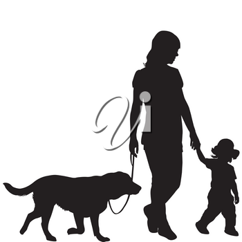 Silhouettes of woman with kid and dog walking