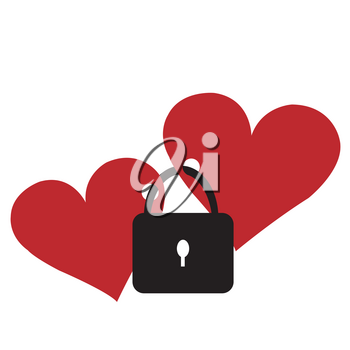 Two red hearts locked with the lock