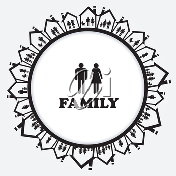 Family icon with families in house. A house for everyone concept
