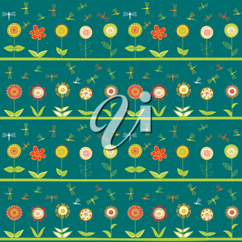 Rows of flowers and stylized dragonflies seamless background