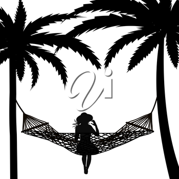 Tropical scene with palms and woman relaxing in a hammock