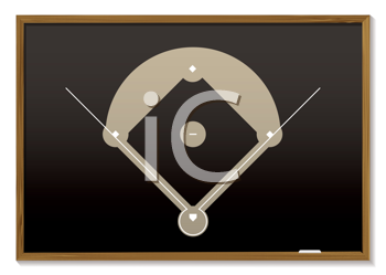 Royalty Free Clipart Image of a Blackboard With a Baseball Field