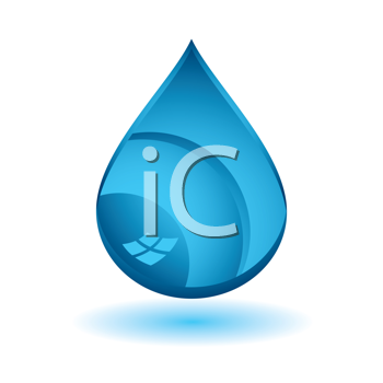 Royalty Free Clipart Image of a Blue Drop