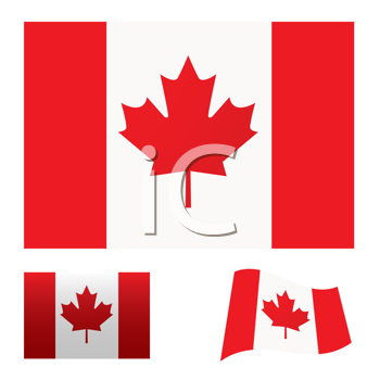 Royalty Free Clipart Image of Canadian Flags