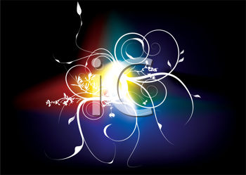 Royalty Free Clipart Image of a Black Background With Rainbow Colours and a Flourish in the Centre
