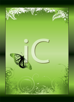 Royalty Free Clipart Image of a Green Background in a Frame With Floral Flourishes and a Butterfly