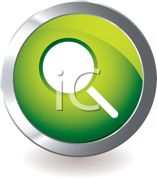 Royalty Free Clipart Image of a Button With a Magnifying Glass
