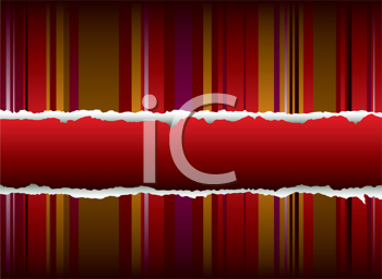 Royalty Free Clipart Image of a Torn Striped Background