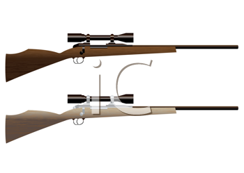 Royalty Free Clipart Image of Two Hunting Rifles