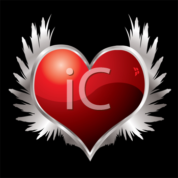 Royalty Free Clipart Image of a Red Heart Framed in Silver With Silver Wings