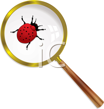 Royalty Free Clipart Image of a Ladybug Under a Magnifying Glass