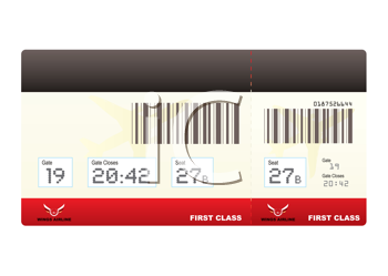 Royalty Free Clipart Image of a First Class Ticket
