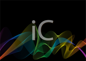 Royalty Free Clipart Image of a Black Background With a Rainbow Wave