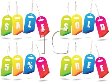 Royalty Free Clipart Image of Brightly Coloured Sales Tags