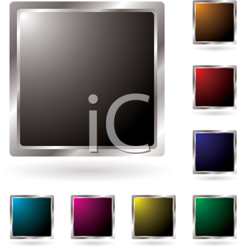 Royalty Free Clipart Image of a Set of Square Buttons