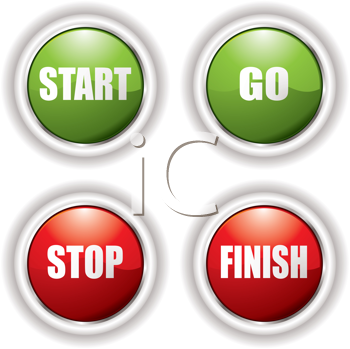 Royalty Free Clipart Image of a Stop and Go Buttons