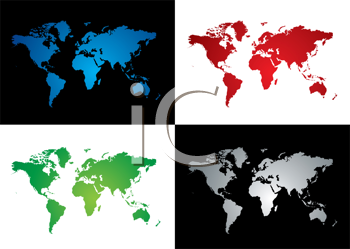 Royalty Free Clipart Image of Four Maps