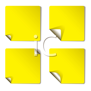 Royalty Free Clipart Image of a Yellow Sticker With Peeling Corners