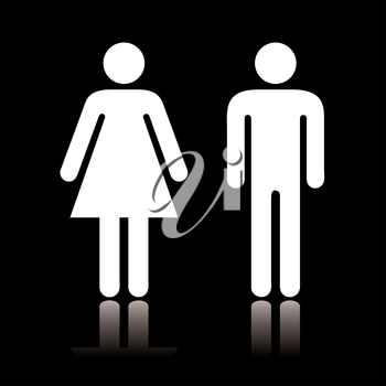 Simple black and white toilet symbol with reflection