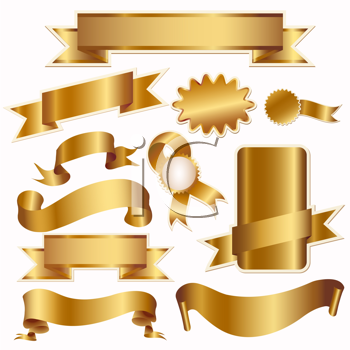 Royalty Free Clipart Image of a Set of Gold Ribbons and Labels