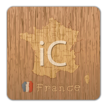 Royalty Free Clipart Image of a Map of France on Wood