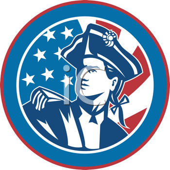 Royalty Free Clipart Image of an American Revolutionary