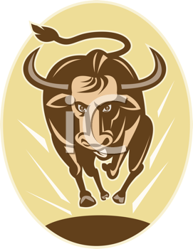 Royalty Free Clipart Image of a Charging Bull