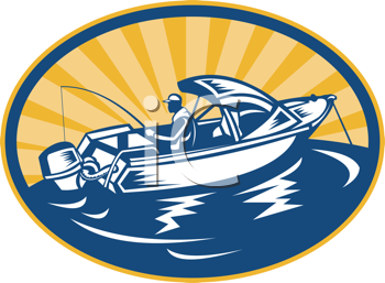 Royalty Free Clipart Image of a Man in a Power Boat Fishing
