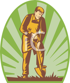 Royalty Free Clipart Image of a Man Digging With a Shovel