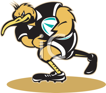 Royalty Free Clipart Image of a Kiwi Playing Rugby