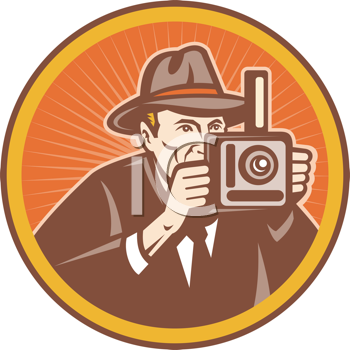 Royalty Free Clipart Image of a Man With a Camera