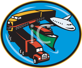Royalty Free Clipart Image of a Variety of Transportation