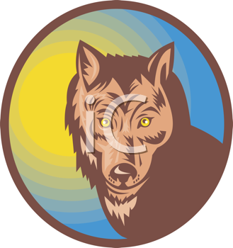 Royalty Free Clipart Image of a Wolf's Head
