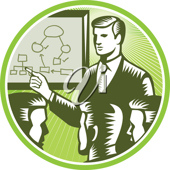Illustration of a male presenter office worker businessman talking presenting making presentation to boardroom with colleagues white board with diagrams and mind maps in background done in retro woodc