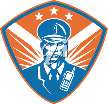 Illustration of an african american policeman security guard police officer set inside shield crest with stars done in retro style.