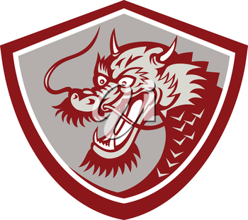 Illustration of a red chinese dragon head set inside shield on isolated white background.