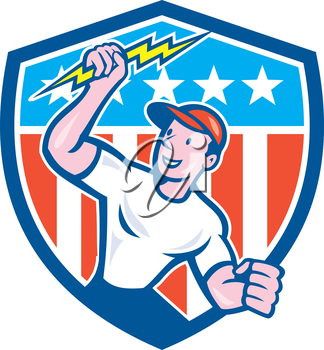 Illustration of an electrician construction worker standing holding a lightning bolt looking to the side set inside circle with stars and stripes in the background done in cartoon style.