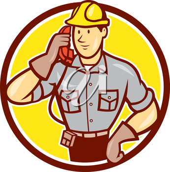 Illustration of telephone repairman worker tradesman holding calling phone set inside circle done in cartoon style on isolated background