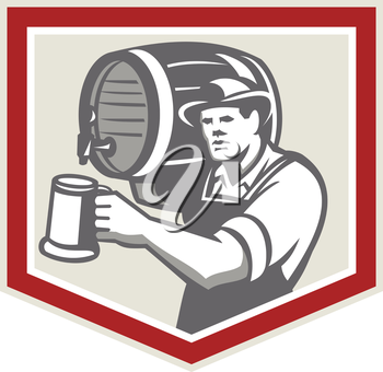 Illustration of a barkeep, barkeeper, barperson, barman, barmaid, bar attendant, or taberneiro worker lifting carrying beer barrel on shoulder pouring beer into mug inside shield done in retro style.