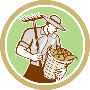 Illustration of organic farmer holding rake on shoulder and basket of crops produce harvest facing side set inside circle on isolated background done in retro style.