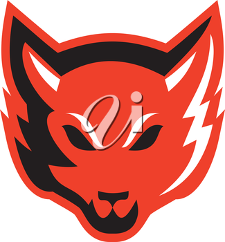 Illustration of an angry fox wild dog wolf facing front done in retro style on isolated background.