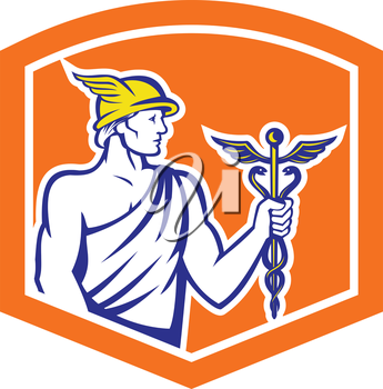 Illustration of Roman god Mercury patron god of financial gain, commerce, communication and travelers wearing winged hat and holding caduceus a herald's staff with two entwined snakes looking to side
