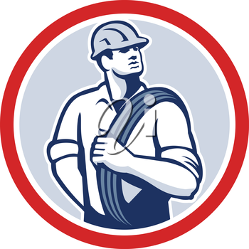Illustration of a power lineman telephone repairman worker holding wire cable over shoulder done in retro style set inside circle.