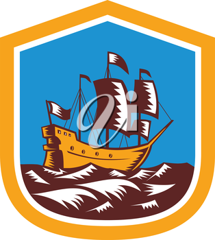 Illustration of a sailing ship galleon set inside a shield done in retro woodcut style.
